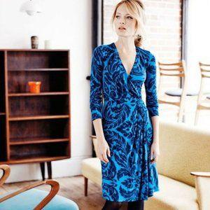 Boden Size 10 Dress Henrietta Faux Wrap Day Navy